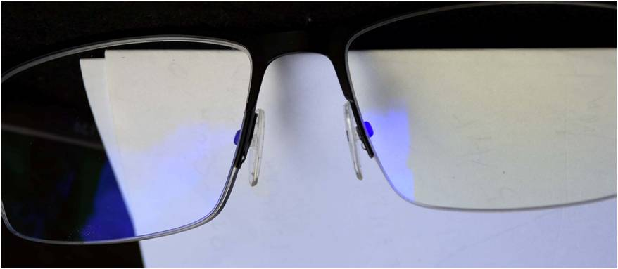 Anti-reflection coating that eliminates reflected visual glare and harmful UVC and short wavelength blue light.