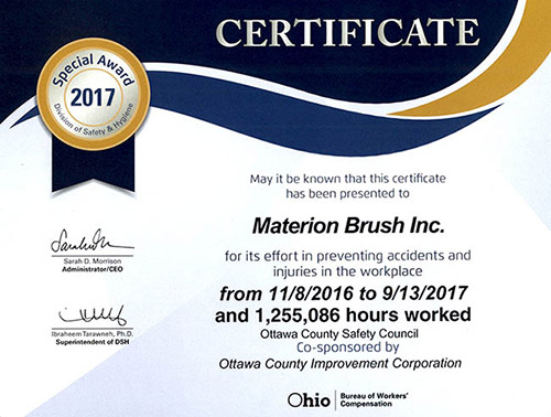 Materion Elmore Safety Award